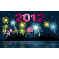 2012年を花火で祝うナイトパーティ 壁紙素材