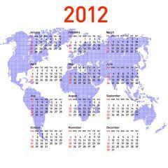 世界を背景にした2012年カレンダー素材