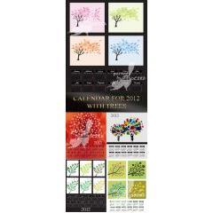 四季を木々で表現している2012年カレンダー素材