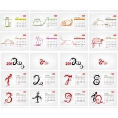 猫陽気さが可愛く、龍が数字の形をしている2012年カレンダー素材