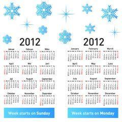 シンプルでとにかく見やすい2012年カレンダー素材