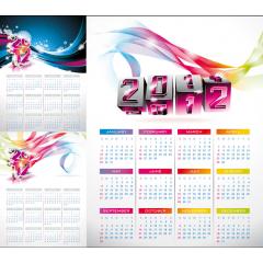 流れるようなカラフルポスターが素敵な2012年カレンダー素材