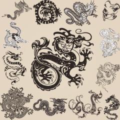 タトゥーの参考になる龍のデザイン ベクター素材
