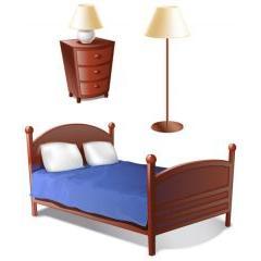 とても寝心地が良さそうなベッドとインテリア ベクター素材