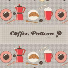 モーニングカフェのお洒落なパターン素材