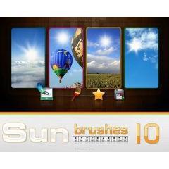 サンサンと輝く太陽を描けるphotoshop ブラシ素材