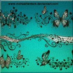 メロディに乗って優雅に浮かぶ蝶々 Photoshopブラシ素材