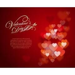 ぼやけたハートがロマンチックなバレンタイン素材