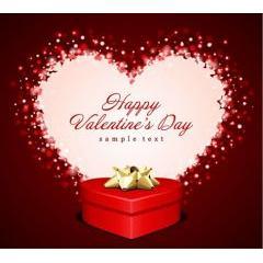 暖かみの感じるハートとバレンタインプレゼント ベクター素材