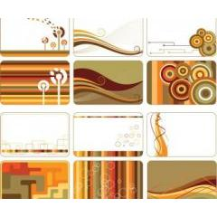 レトロな色合いがお洒落なカードデザイン ベクター素材