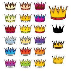 いろんな色のかわいい王冠ベクター素材