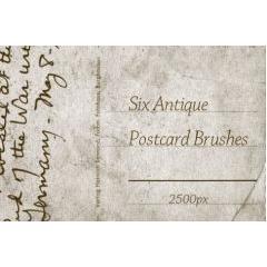 6種類のアンティークポストカード フォトショップブラシ素材