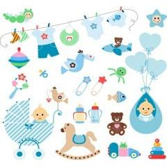 可愛い赤ちゃんとおもちゃの行進 ベクター素材