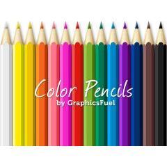 鮮やかな14種類の色鉛筆 PSD素材