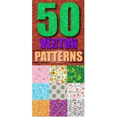 50種類のフローラルベクターデザイン パターン素材